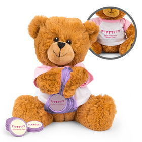 Personalized Birth Announcement It's a Girl Banner Teddy Bear with Chocolate Coins in XS Organza Bag
