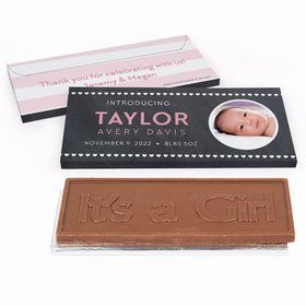 Deluxe Personalized Baby Girl Announcement Hearts Chocolate Bar in Gift Box