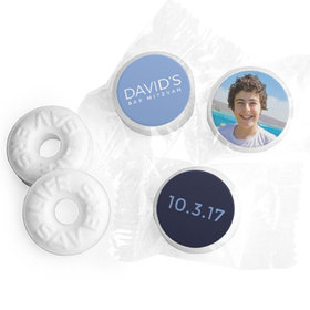 Bar Mitzvah Personalized Solid Blue Life Savers Mints