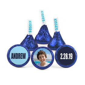 Personalized Bar Mitzvah Boldly Blue Hershey's Kisses (50 pack)