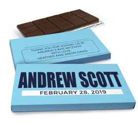 Deluxe Personalized Bar Mitzvah Boldly Blue Chocolate Bar in Gift Box (3oz Bar)