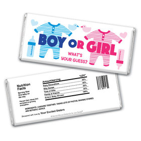 Personalized Bonnie Marcus Gender Reveal Onesies Chocolate Bar & Wrapper