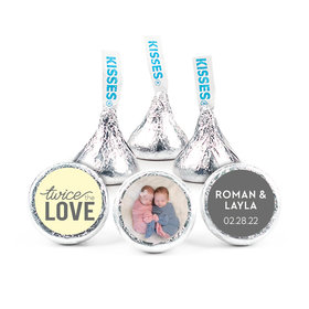 """Personalized Bonnie Marcus Birth Announcement Twice the Love 3/4"""" Stickers (108 Stickers)"""