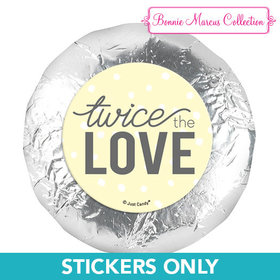 """Personalized Bonnie Marcus Birth Announcement Twice the Love 1.25"""" Stickers (48 Stickers)"""
