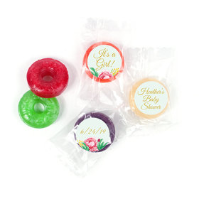 Personalized Bonnie Marcus Baby Shower It's a Girl Floral LifeSavers 5 Flavor Hard Candy