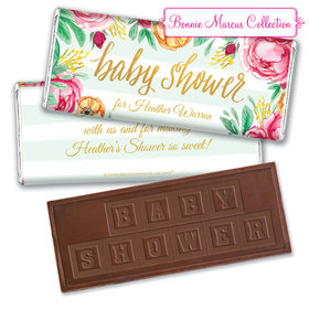 Personalized Bonnie Marcus Baby Shower Stripes Embossed Chocolate Bar & Wrapper