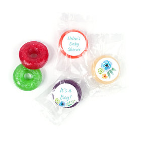 Personalized Bonnie Marcus Baby Shower Watercolor Blossom Wreath Blue LifeSavers 5 Flavor Hard Candy