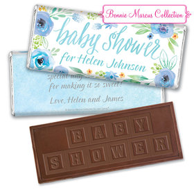 Personalized Bonnie Marcus Baby Shower Blue Watercolor Wreath Embossed Chocolate Bar & Wrapper