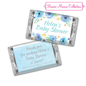 Personalized Bonnie Marcus Baby Shower Watercolor Blossom Wreath Blue Hershey's Miniatures