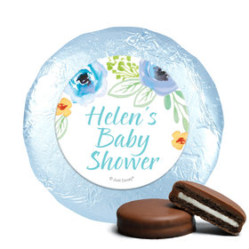 Personalized Bonnie Marcus Baby Shower Watercolor Blossom Wreath Blue Milk Chocolate Covered Oreos