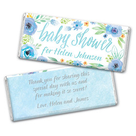 Personalized Bonnie Marcus Baby Shower Blue Watercolor Wreath Chocolate Bar Wrappers Only