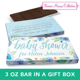Deluxe Personalized Baby Shower Watercolor Blossom Wreath Chocolate Bar in Gift Box (3oz Bar)