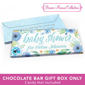 Deluxe Personalized Baby Shower Watercolor Blossom Wreath Candy Bar Favor Box