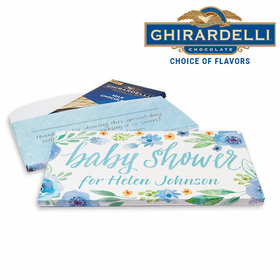 Deluxe Personalized Baby Shower Watercolor Blossom Wreath Ghirardelli Chocolate Bar in Gift Box
