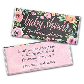 Personalized Bonnie Marcus Baby Shower Watercolor Wreath Chocolate Bar & Wrapper