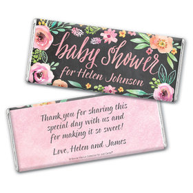 Personalized Bonnie Marcus Baby Shower Watercolor Wreath Chocolate Bar Wrappers Only