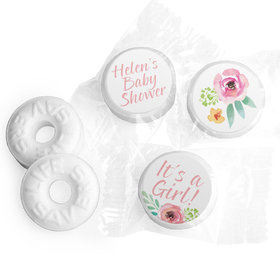 Personalized Bonnie Marcus Baby Shower Watercolor Blossom Wreath Pink Life Savers Mints