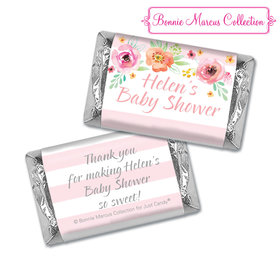 Personalized Bonnie Marcus Baby Shower Watercolor Blossom Wreath Pink Hershey's Miniatures