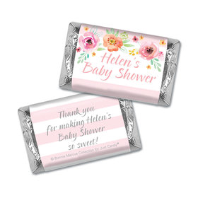 Personalized Bonnie Marcus Baby Shower Watercolor Blossom Wreath Pink Mini Wrappers Only