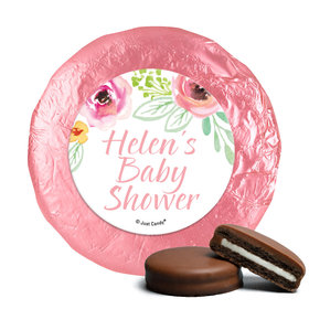 Personalized Bonnie Marcus Baby Shower Watercolor Blossom Wreath Pink Milk Chocolate Covered Oreos