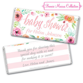 Personalized Bonnie Marcus Baby Shower Pink Watercolor Wreath Chocolate Bar & Wrapper