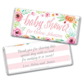 Personalized Bonnie Marcus Baby Shower Pink Watercolor Wreath Chocolate Bar Wrappers Only