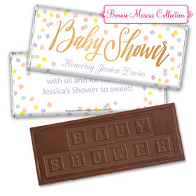 Personalized Bonnie Marcus Baby Shower Confetti Fun Embossed Chocolate Bar & Wrapper