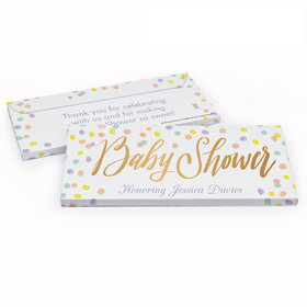 Deluxe Personalized Baby Shower Pastel Confetti Chocolate Bar in Gift Box
