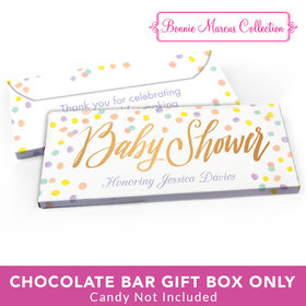 Deluxe Personalized Baby Shower Pastel Confetti Candy Bar Favor Box