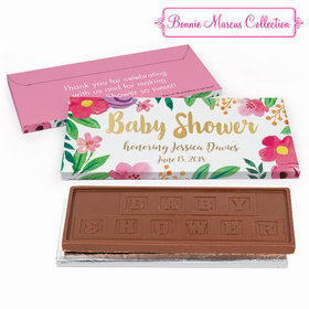 Deluxe Personalized Baby Shower Watercolor Flowers Embossed Chocolate Bar in Gift Box