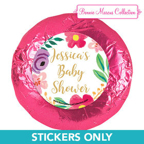 Personalized Bonnie Marcus Baby Shower Fun Floral 1.25in Stickers (48 Stickers)