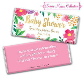 Personalized Bonnie Marcus Baby Shower Fun Floral Chocolate Bar & Wrapper
