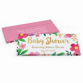 Deluxe Personalized Baby Shower Watercolor Flowers Chocolate Bar in Gift Box