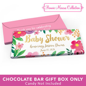 Deluxe Personalized Baby Shower Watercolor Flowers Candy Bar Favor Box