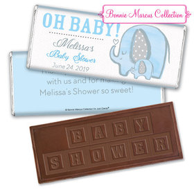 Personalized Bonnie Marcus Baby Shower Elephants Embossed Chocolate Bar & Wrapper