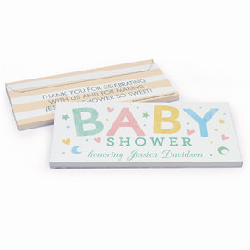 Deluxe Personalized Baby Shower Colorful Baby Chocolate Bar in Gift Box