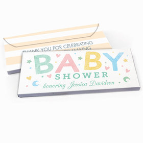 Deluxe Personalized Baby Shower Colorful Baby Candy Bar Favor Box