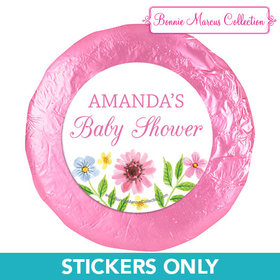 Personalized Bonnie Marcus Flower Wreath Baby Shower 1.25in Stickers (48 Stickers)