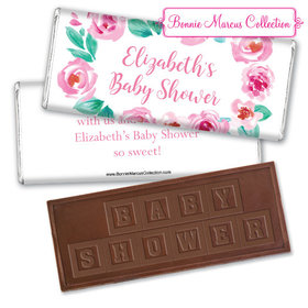 Personalized Bonnie Marcus Pink Floral Wreath Baby Shower Embossed Chocolate Bar & Wrapper