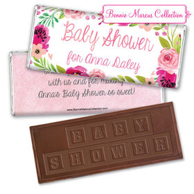 Personalized Bonnie Marcus Baby Shower Painted Petals Embossed Chocolate Bar & Wrapper