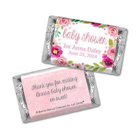 Personalized Bonnie Marcus Baby Shower Hershey's Miniatures Wrappers Painted Petals