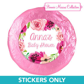 Personalized Bonnie Marcus Painted Petals Baby Shower 1.25in Stickers (48 Stickers)