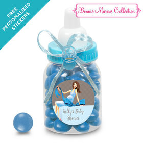 Bonnie Marcus Collection Personalized Blue Baby Bottle - Baby Bow (24 Pack)
