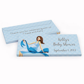 Deluxe Personalized Baby Shower Baby Bow Chocolate Bar in Gift Box