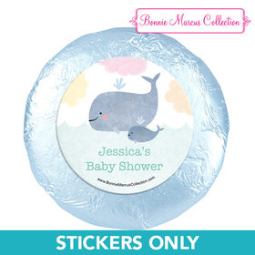 Personalized Bonnie Marcus Baby Whale Baby Shower 1.25in Stickers (48 Stickers)