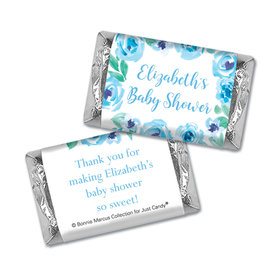Personalized Bonnie Marcus Blue Floral Wreath Baby Shower Mini Wrappers