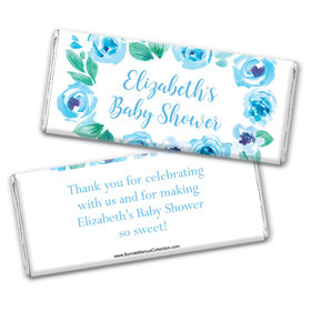 Personalized Bonnie Marcus Baby Shower Blue Floral Wreath Chocolate Bar Wrappers Only