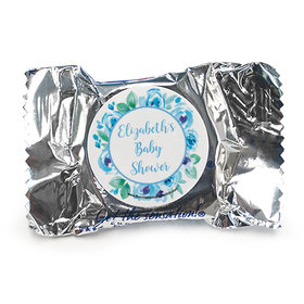 Personalized Bonnie Marcus Baby Shower Blue Floral Wreath York Peppermint Patties