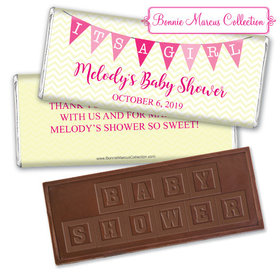 Personalized Bonnie Marcus Baby Shower Chevron Banner Girl Chocolate Bar & Wrapper