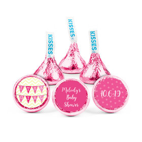 Personalized Bonnie Marcus Baby Shower Chevron Banner Girl Hershey's Kisses (50 pack)